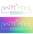 phoenix skyline colorful linear style vector image