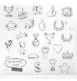 Awards and achievement sketches of icons set vector image
