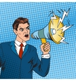 Pop art boss business leader and megaphone vector image