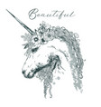 beautiful unicorn with floral wreath vector image