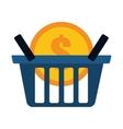 blue basket buy coin dollar vector image
