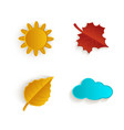 cartoon autumn symbol objects set isolated vector image