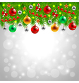 Christmas tree branches on snowy background vector image