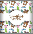 cute woodland tribal animal in the forest vector image