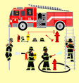 fire truck and fireman 2 vector image