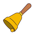 hand bell with wooden handle side view on colorful vector image