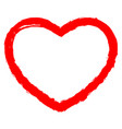 red heart contour brush stroke vector image