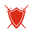Red icon of shield and two crossed swords under it vector image