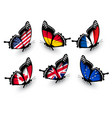 Set of butterflies with different flags vector image