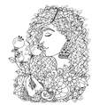 girl holding a flower vector image vector image