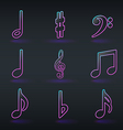 fluorescent neon musical signs icons vector image