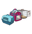 three type of pet carrier transport bag plastic vector image