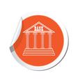 bank icon orange label vector image vector image