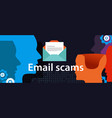 email scam via smart-phone security fraud vector image