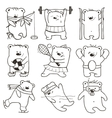 Cartoon Sport Bears Oulines Collection vector image