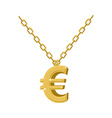 Gold euro sign on chain Decoration for rap artists vector image