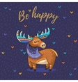 Be happy card with awesome elk vector image
