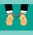 businessman in handcuffs vector image