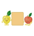 Character apples and poster vector image