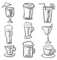 collection drink hand draw doodle style vector image