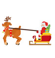 deer is carrying a sleigh with santa claus and vector image