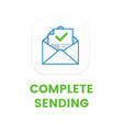 email complete sending flat icon email vector image