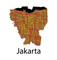 flat outline map of the indonesian capital jakarta vector image