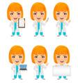 medical doctor woman set funny cartoon character vector image
