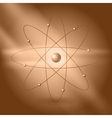 Orbital model of atom on brown background vector image