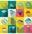 Weather set icons flat style vector image