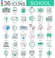 School color flat line outline icons for vector image vector image