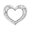 Floral doodle heart frame in zentangle style for vector image