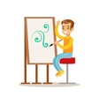 Boy Drawing Creative Child Practicing Arts In Art vector image