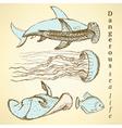 Sketch sea creatures in vintage style vector image