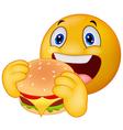 Emoticon smiley eating hamburger vector image vector image