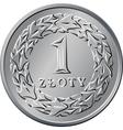 reverse Polish Money one zloty coin vector image