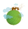 Cartoon Green Planet on White with a Cow vector image