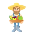 Farmer with vegetables icon flat style vector image