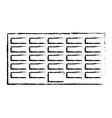 Profile city office building line sticker vector image