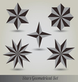 Set stars polyhedron for graphic design vector image