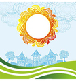 Sun and houses vector image