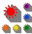 sun sign set of red orange yellow vector image