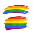 grunge brush stroke with rainbow flag lgbt vector image