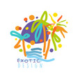 exotic logo design beach holidays colorful hand vector image vector image