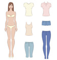 Paper doll and clothes vector image vector image