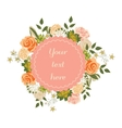 Bright floral card with cute cartoon flowers in vector image