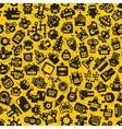 Cartoon robots faces seamless pattern on yellow vector image