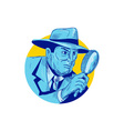 Detective Holding Magnifying Glass Circle Drawing vector image