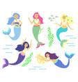 mermaids little cute girls underwater world sea vector image