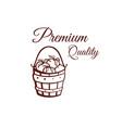 premium quality tomatoes monochrome emblem vector image